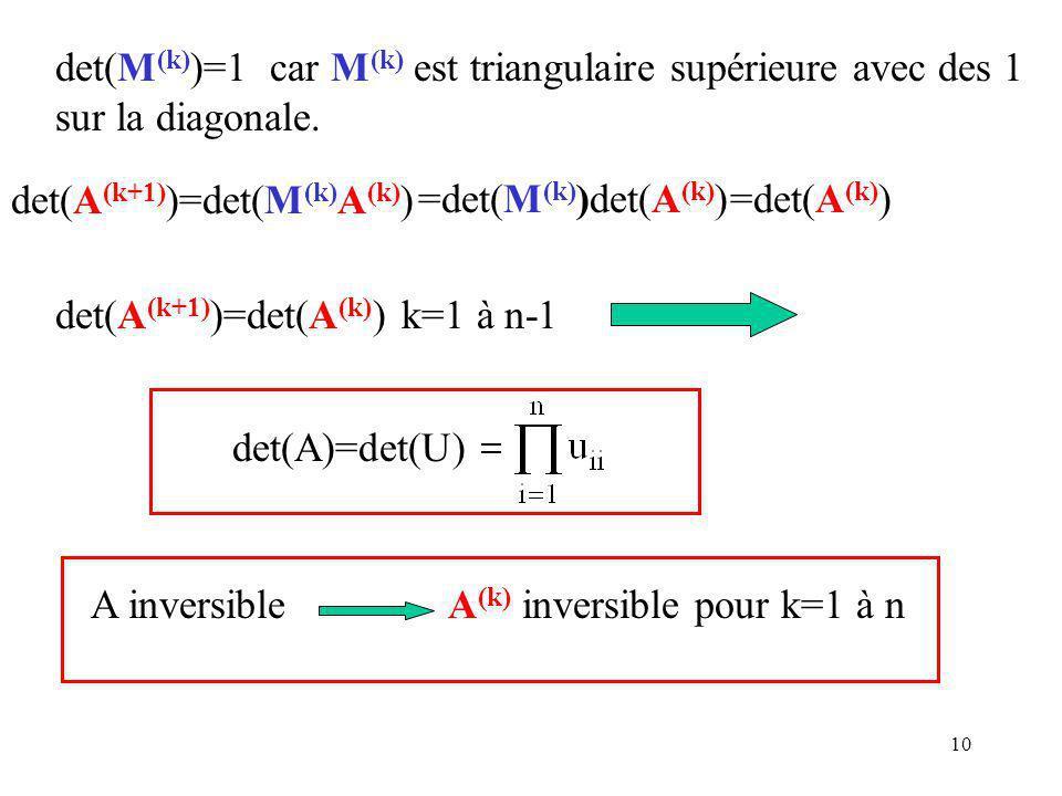 det(M(k))=1 car M(k) est triangulaire supérieure avec des 1 sur la diagonale.