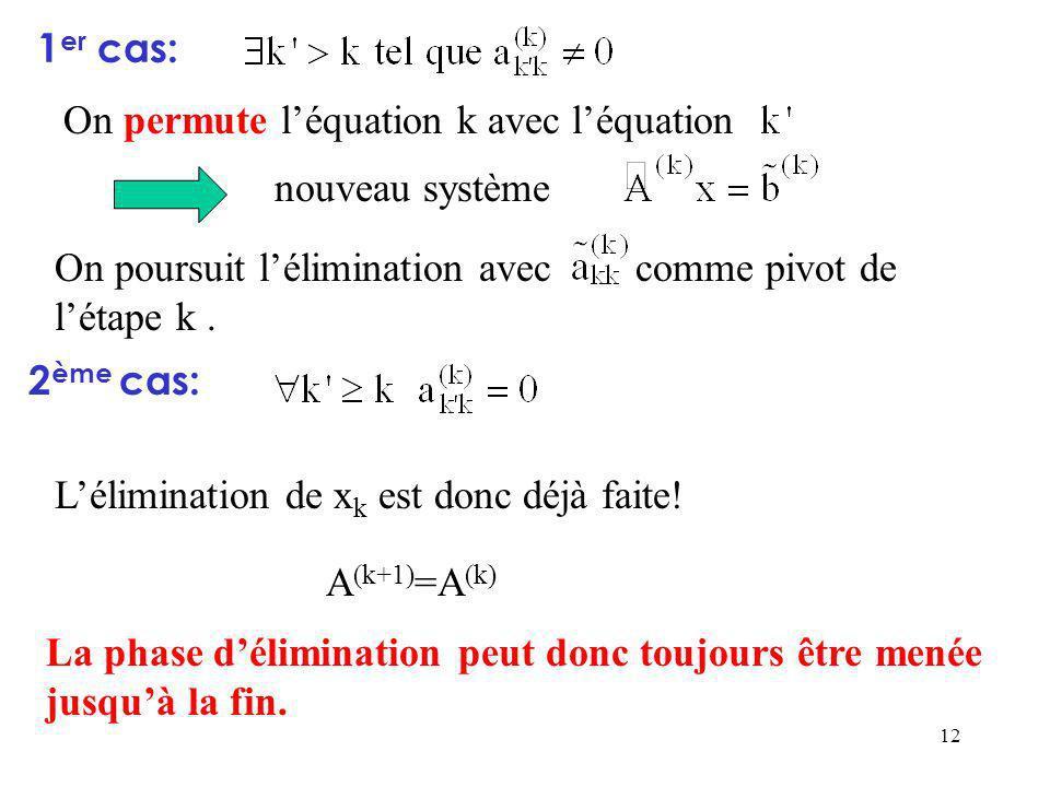 1er cas: On permute l'équation k avec l'équation. nouveau système. On poursuit l'élimination avec comme pivot de l'étape k .