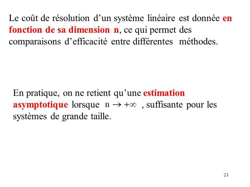 Le coût de résolution d'un système linéaire est donnée en fonction de sa dimension n, ce qui permet des comparaisons d'efficacité entre différentes méthodes.