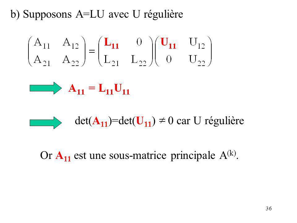 b) Supposons A=LU avec U régulière
