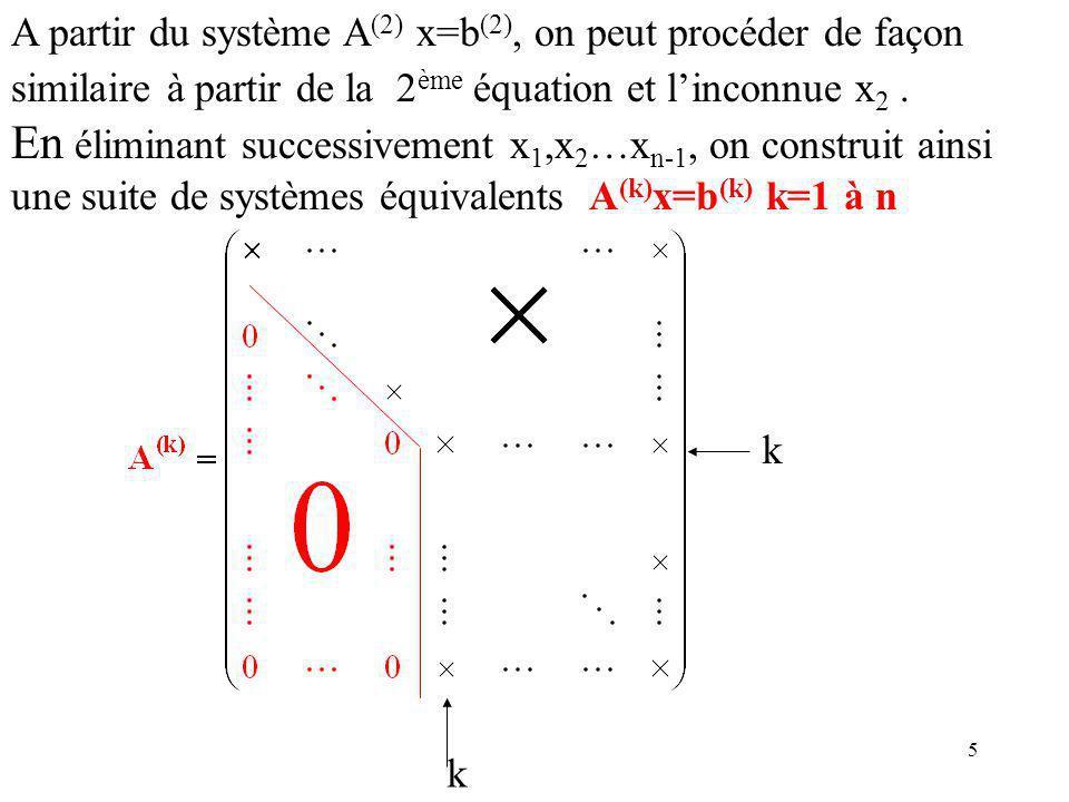A partir du système A(2) x=b(2), on peut procéder de façon similaire à partir de la 2ème équation et l'inconnue x2 .