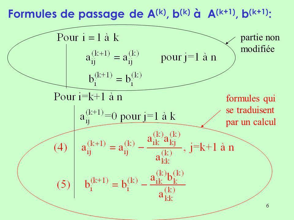 Formules de passage de A(k), b(k) à A(k+1), b(k+1):