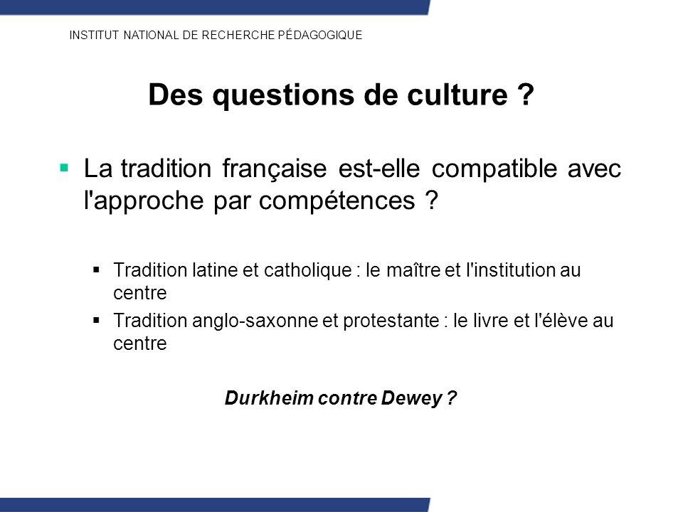 Des questions de culture