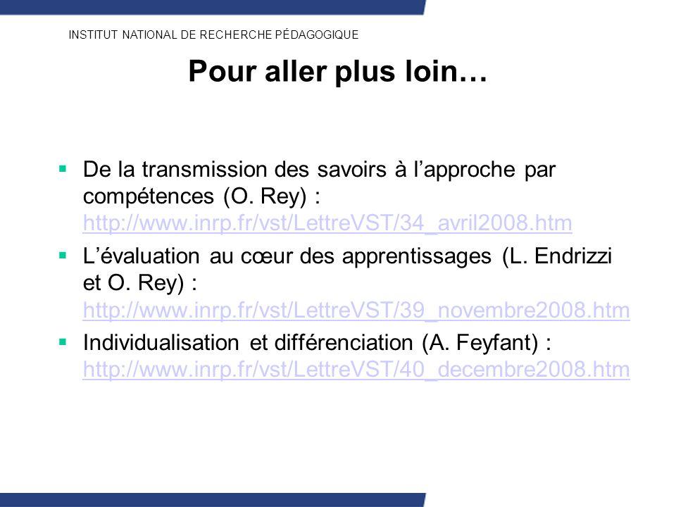 Pour aller plus loin… De la transmission des savoirs à l'approche par compétences (O. Rey) : http://www.inrp.fr/vst/LettreVST/34_avril2008.htm.