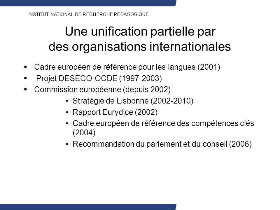 Une unification partielle par des organisations internationales
