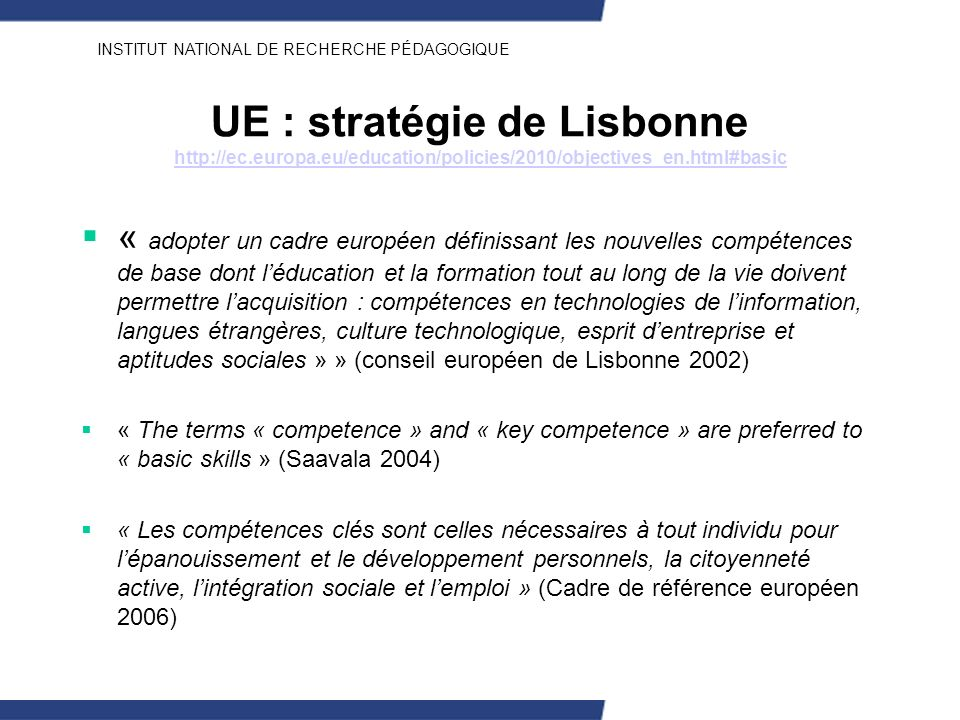 UE : stratégie de Lisbonne http://ec. europa