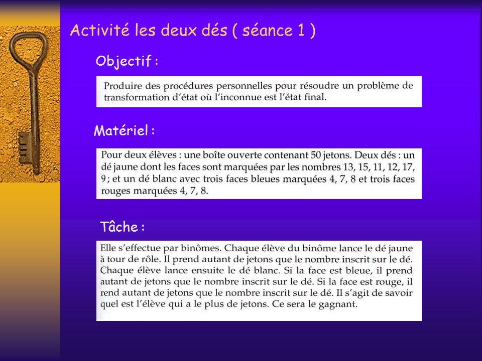Activité les deux dés ( séance 1 )