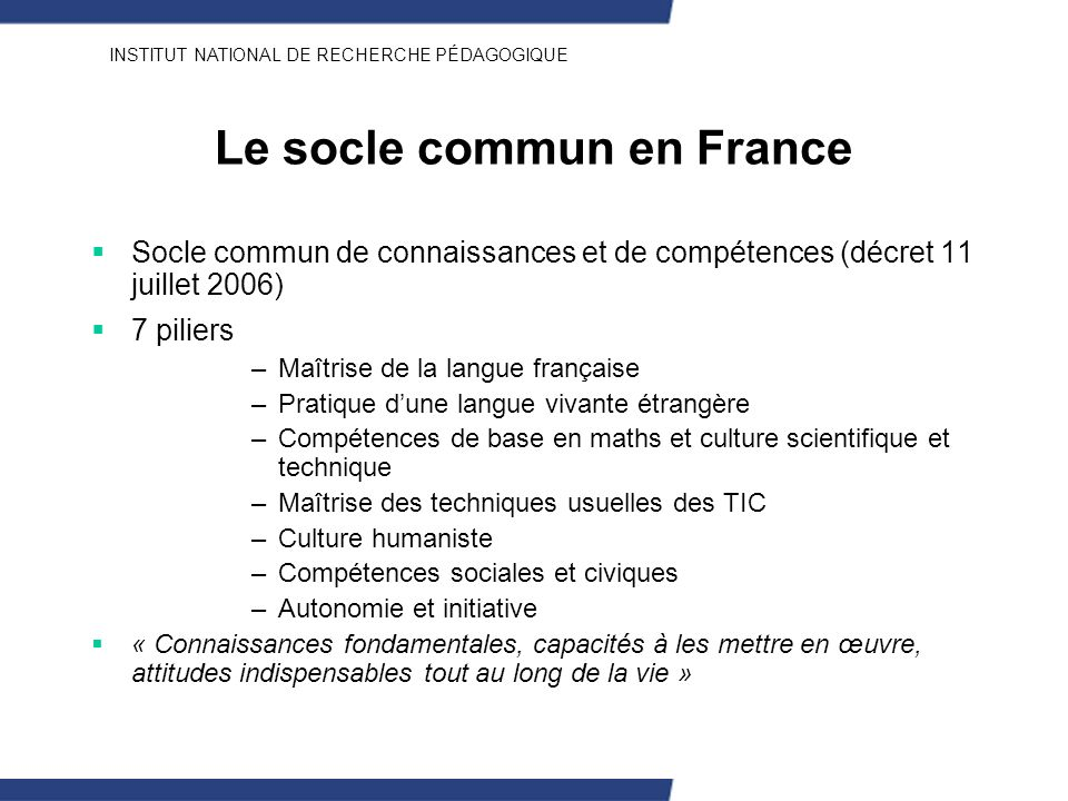 Le socle commun en France
