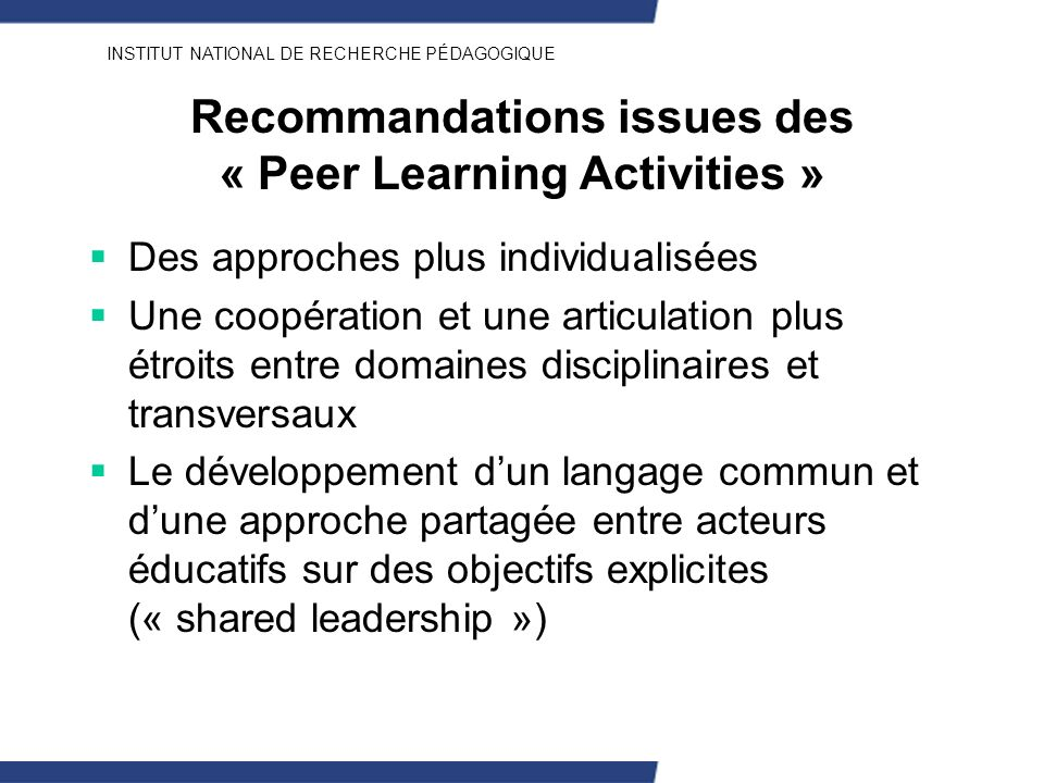 Recommandations issues des « Peer Learning Activities »