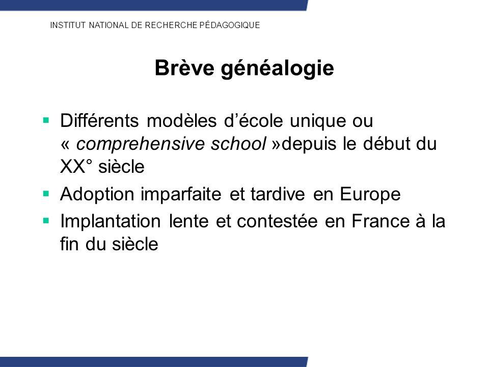 Brève généalogie Différents modèles d'école unique ou « comprehensive school »depuis le début du XX° siècle.