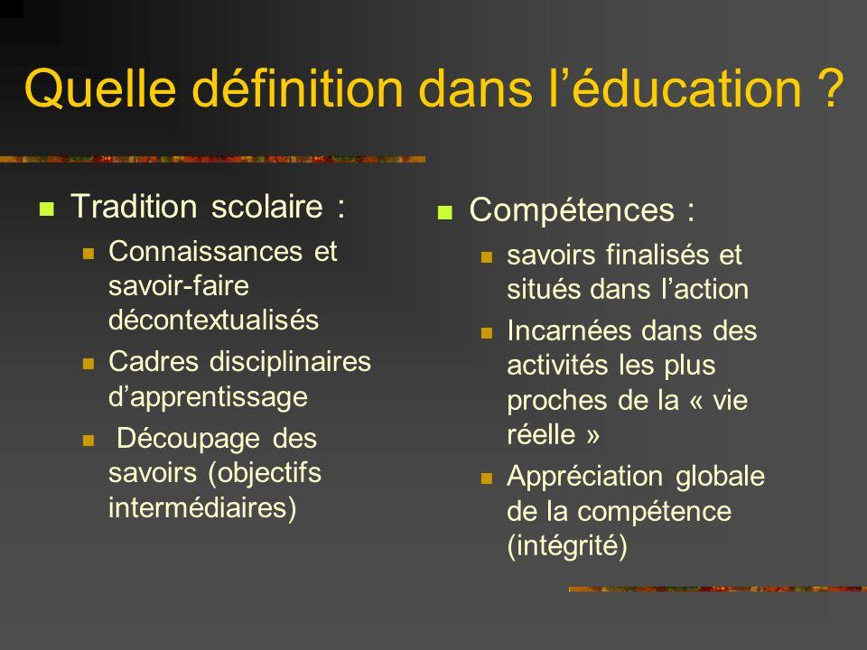 Quelle définition dans l'éducation