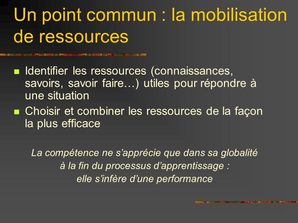 Un point commun : la mobilisation de ressources