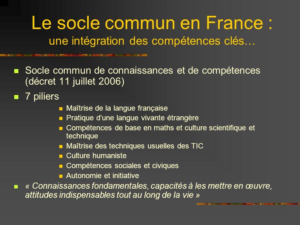 Le socle commun en France : une intégration des compétences clés…