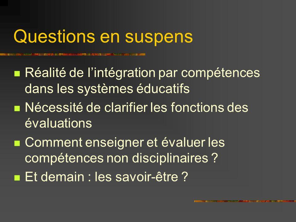 Questions en suspens Réalité de l'intégration par compétences dans les systèmes éducatifs. Nécessité de clarifier les fonctions des évaluations.