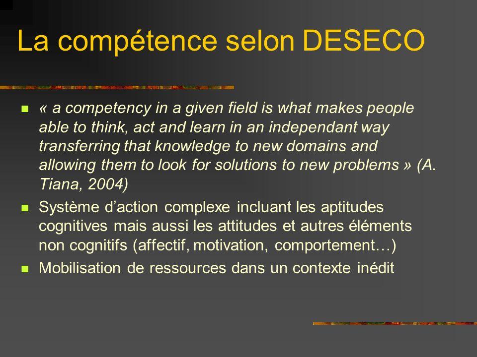 La compétence selon DESECO