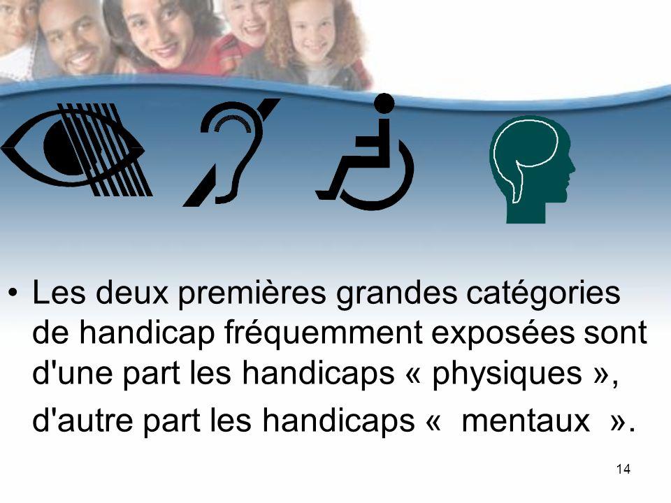 Les deux premières grandes catégories de handicap fréquemment exposées sont d une part les handicaps « physiques », d autre part les handicaps « mentaux ».