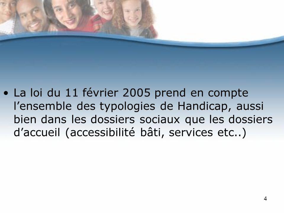 La loi du 11 février 2005 prend en compte l'ensemble des typologies de Handicap, aussi bien dans les dossiers sociaux que les dossiers d'accueil (accessibilité bâti, services etc..)