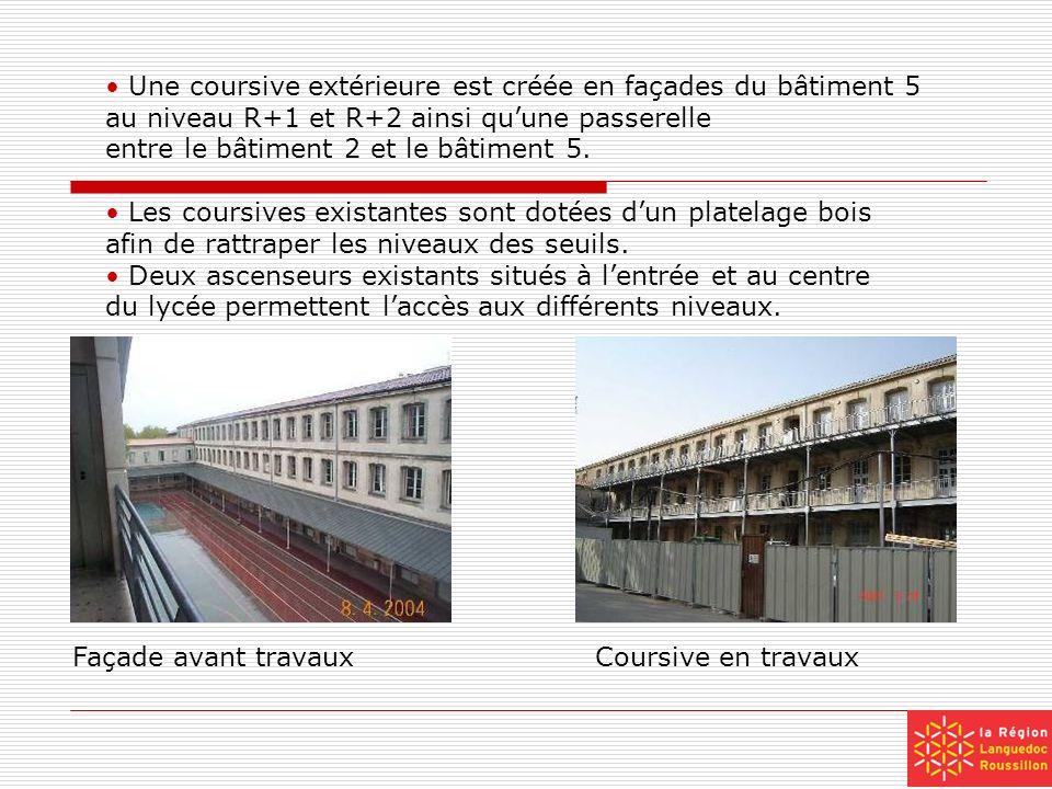 Une coursive extérieure est créée en façades du bâtiment 5