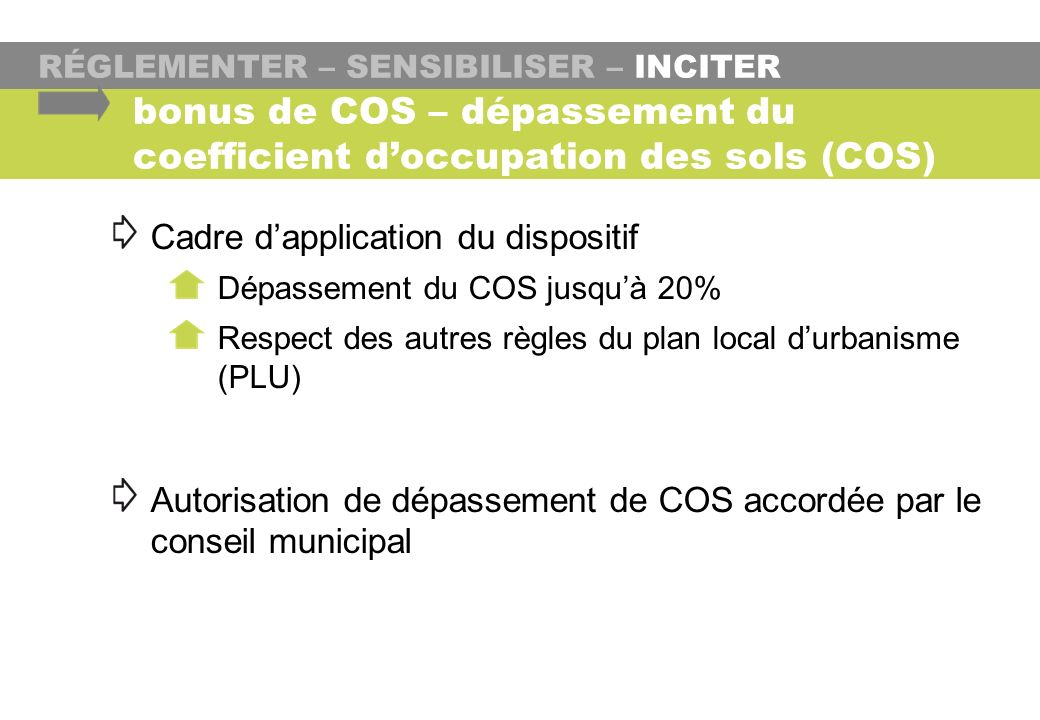 bonus de COS – dépassement du coefficient d'occupation des sols (COS)