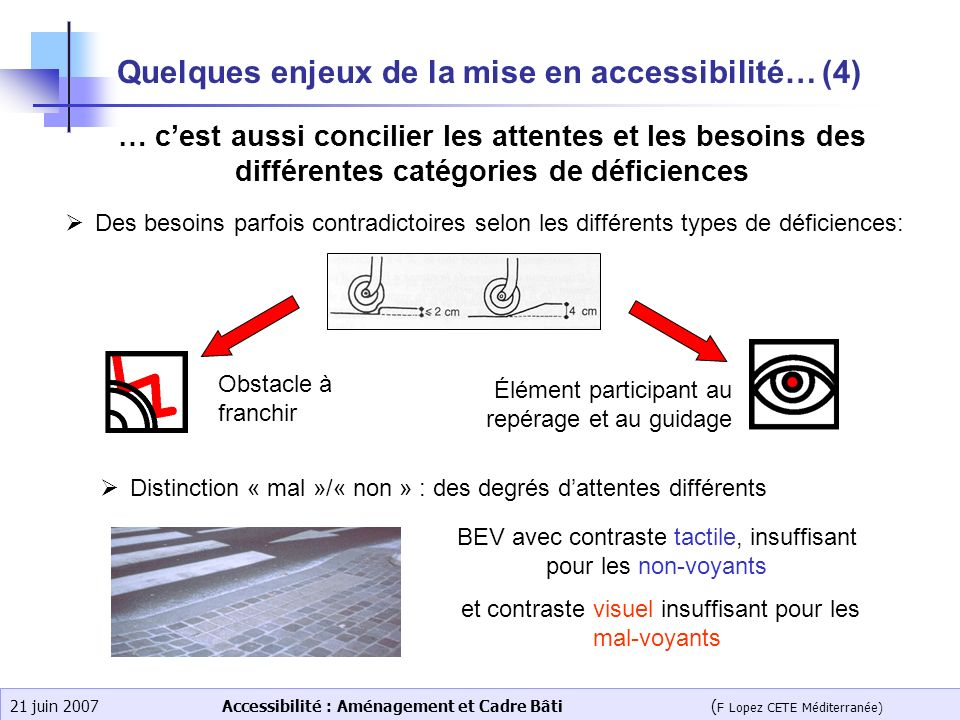 Quelques enjeux de la mise en accessibilité… (4)