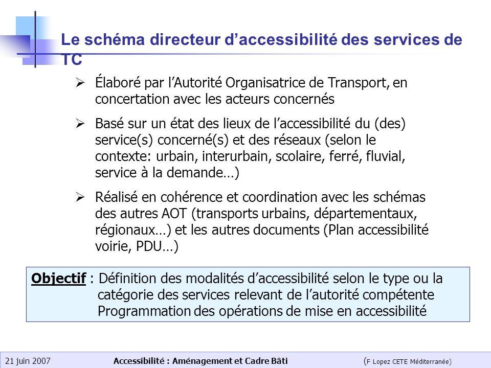 Le schéma directeur d'accessibilité des services de TC