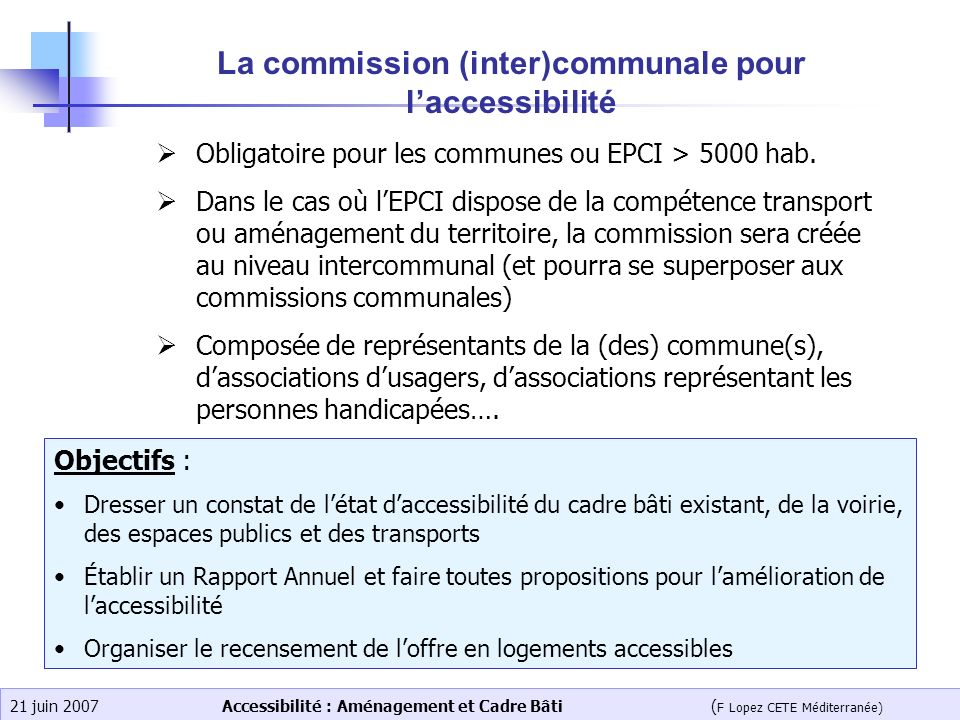 La commission (inter)communale pour l'accessibilité