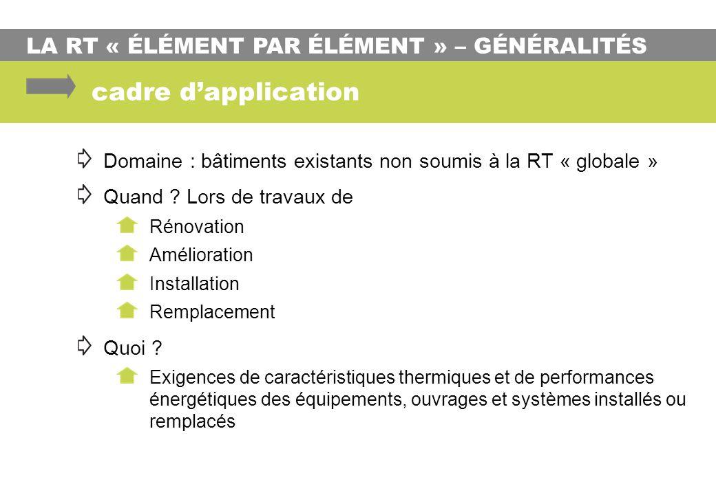 cadre d'application LA RT « ÉLÉMENT PAR ÉLÉMENT » – GÉNÉRALITÉS