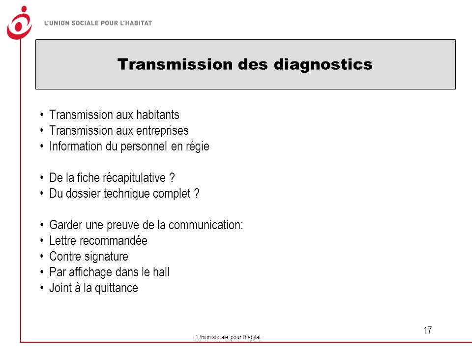 Transmission des diagnostics