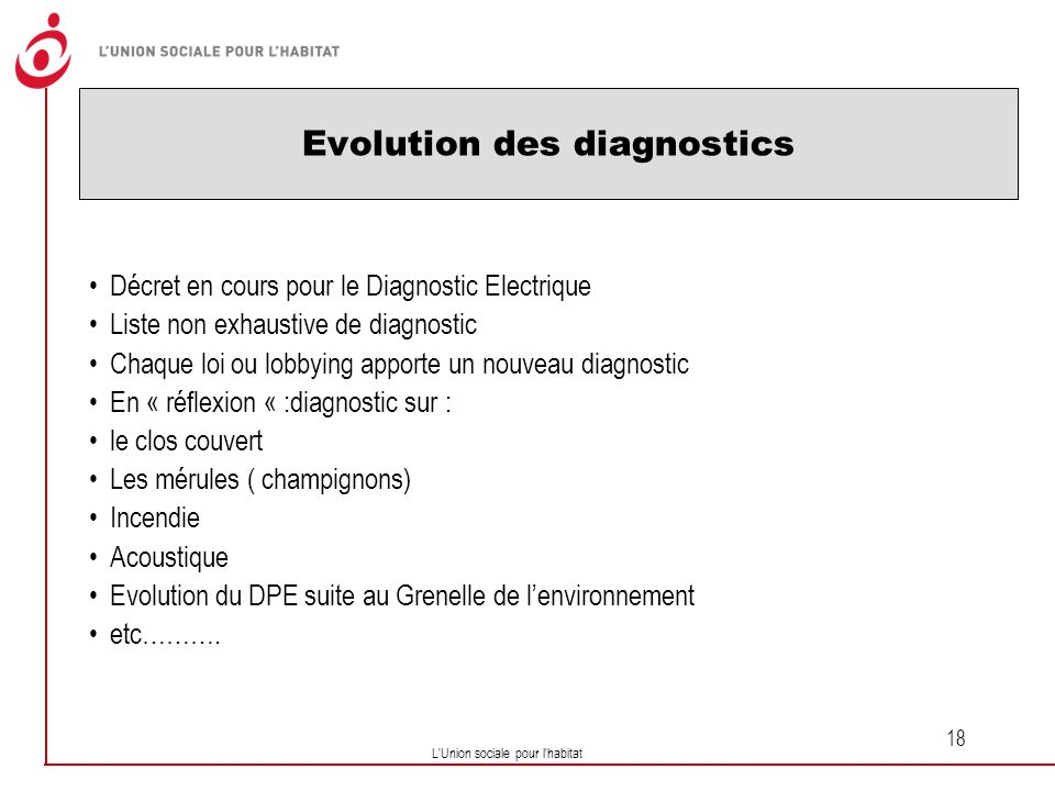 Evolution des diagnostics