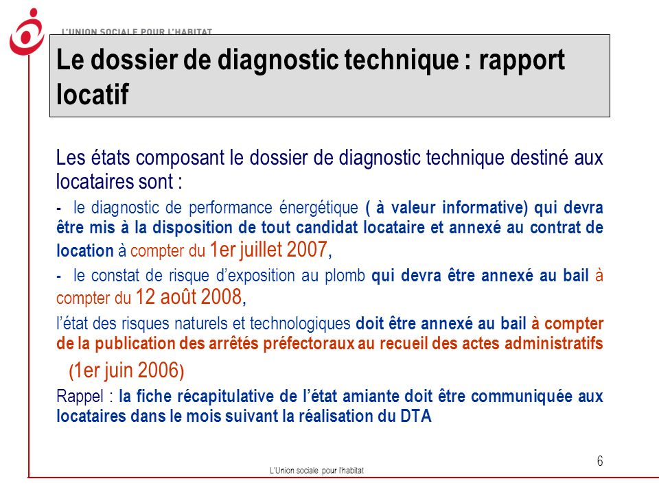 Le dossier de diagnostic technique : rapport locatif