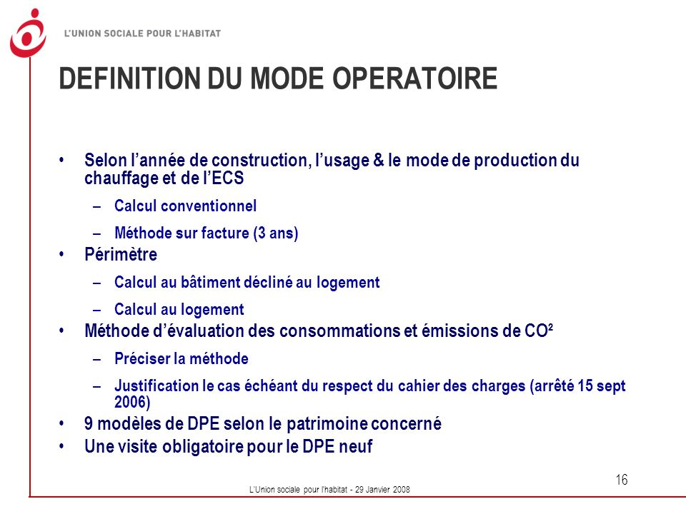 DEFINITION DU MODE OPERATOIRE