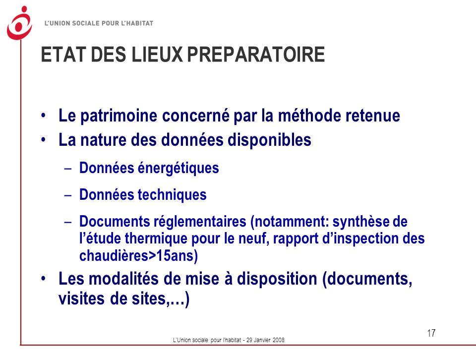 ETAT DES LIEUX PREPARATOIRE