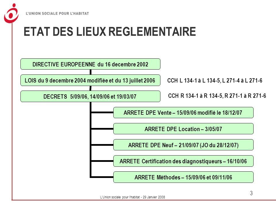 ETAT DES LIEUX REGLEMENTAIRE