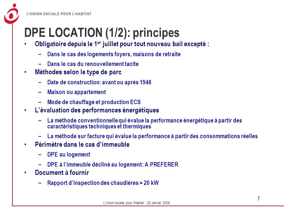 DPE LOCATION (1/2): principes