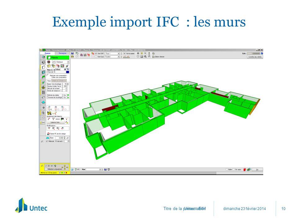 Exemple import IFC : les murs
