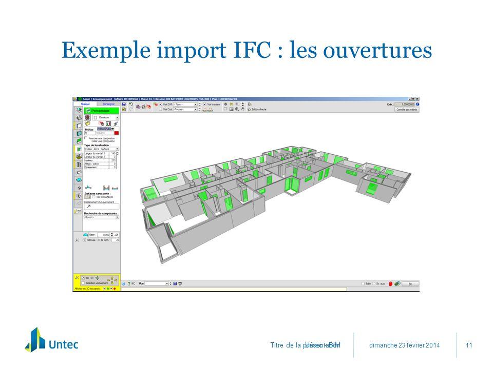 Exemple import IFC : les ouvertures