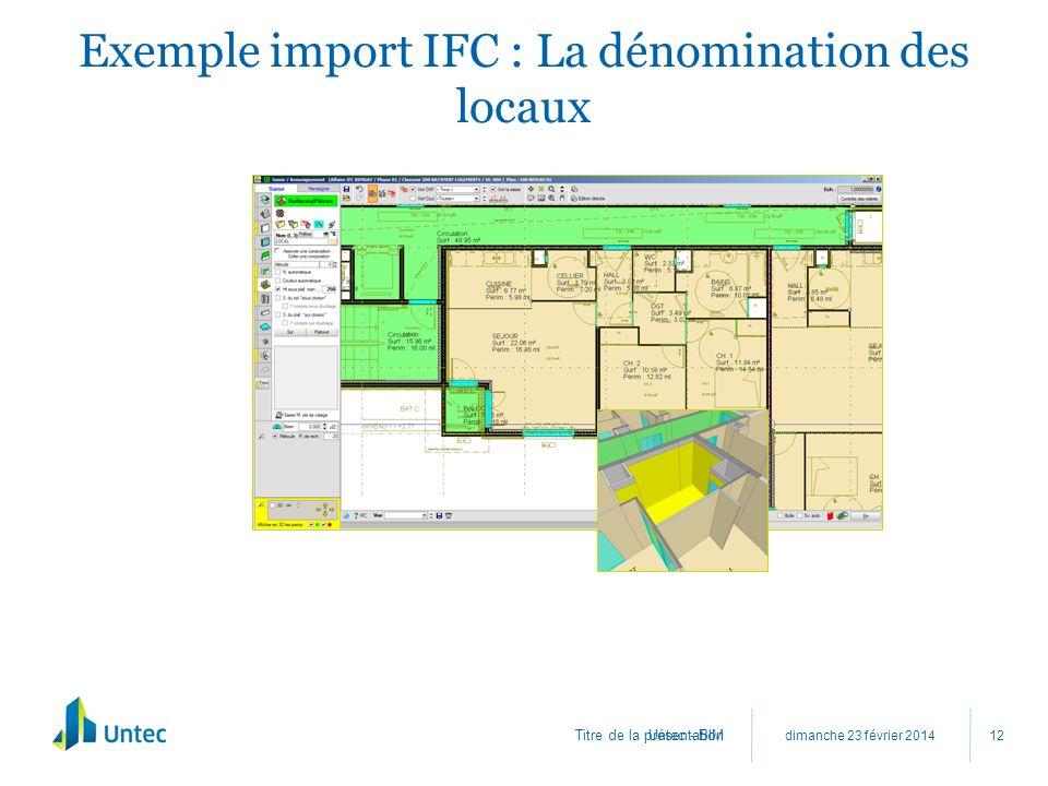 Exemple import IFC : La dénomination des locaux