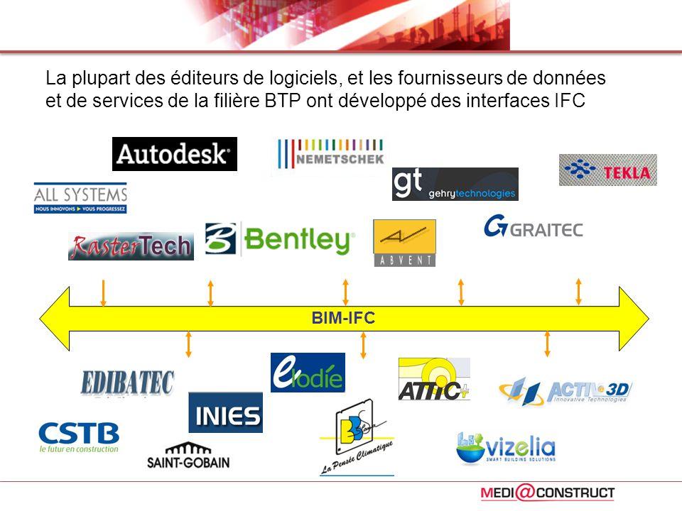 La plupart des éditeurs de logiciels, et les fournisseurs de données et de services de la filière BTP ont développé des interfaces IFC