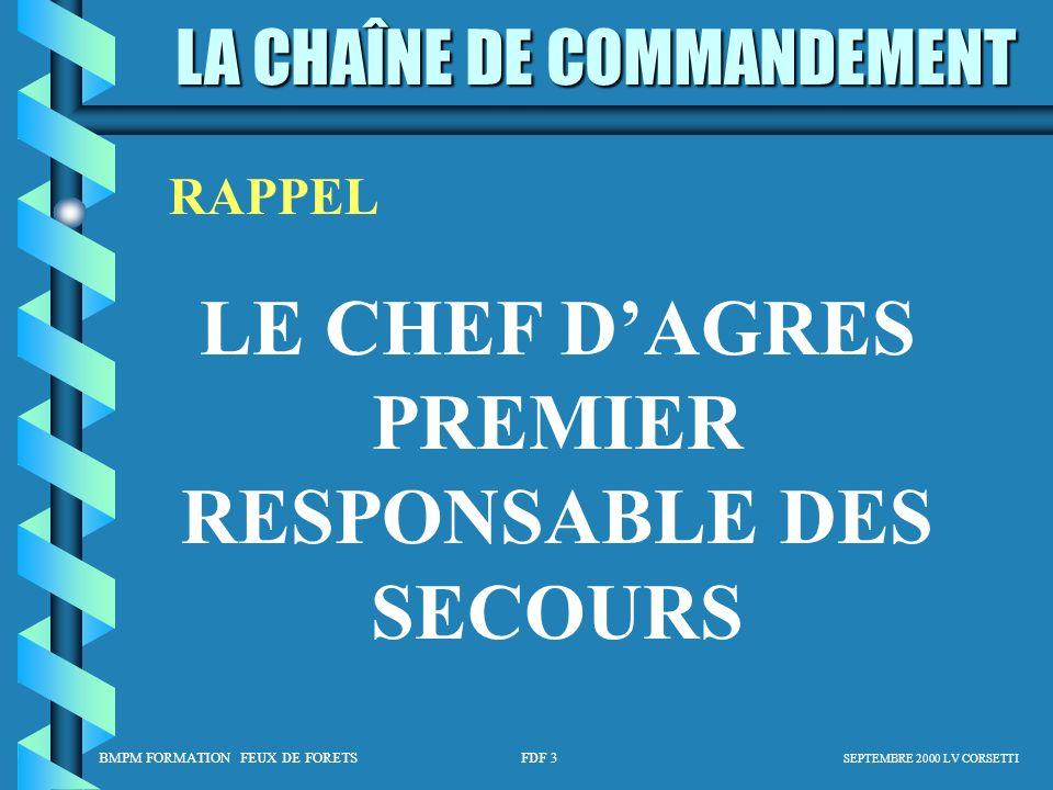 LE CHEF D'AGRES PREMIER RESPONSABLE DES SECOURS