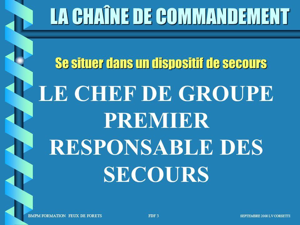 LE CHEF DE GROUPE PREMIER RESPONSABLE DES SECOURS
