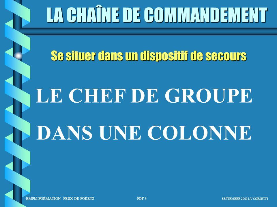 LE CHEF DE GROUPE DANS UNE COLONNE