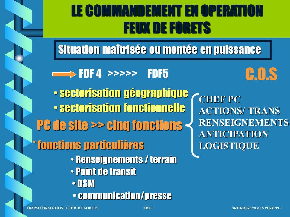 C.O.S LE COMMANDEMENT EN OPERATION FEUX DE FORETS