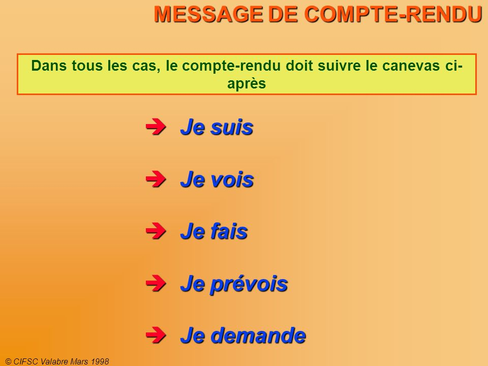 MESSAGE DE COMPTE-RENDU