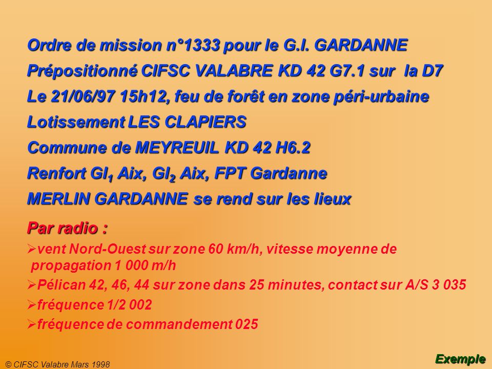 Ordre de mission n°1333 pour le G.I. GARDANNE