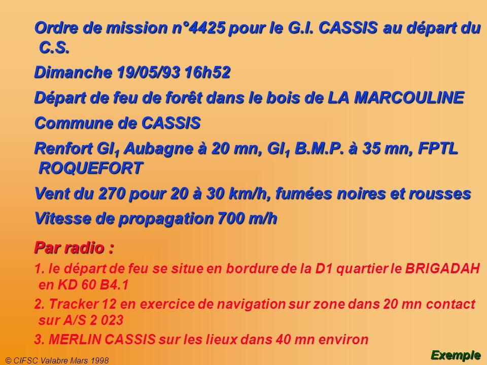 Ordre de mission n°4425 pour le G.I. CASSIS au départ du C.S.