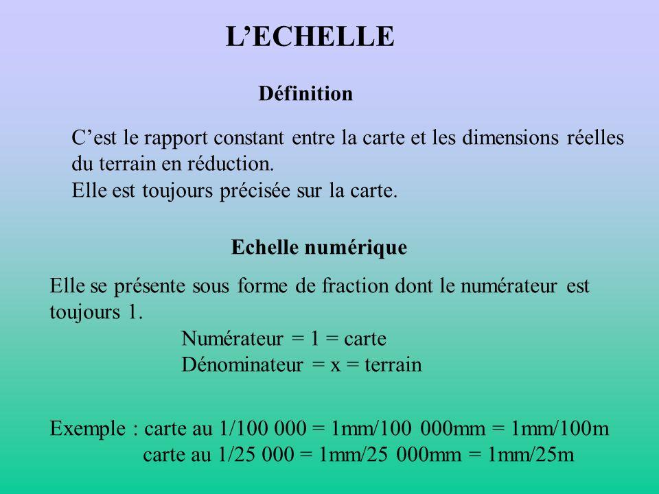 L'ECHELLE Définition. C'est le rapport constant entre la carte et les dimensions réelles. du terrain en réduction.
