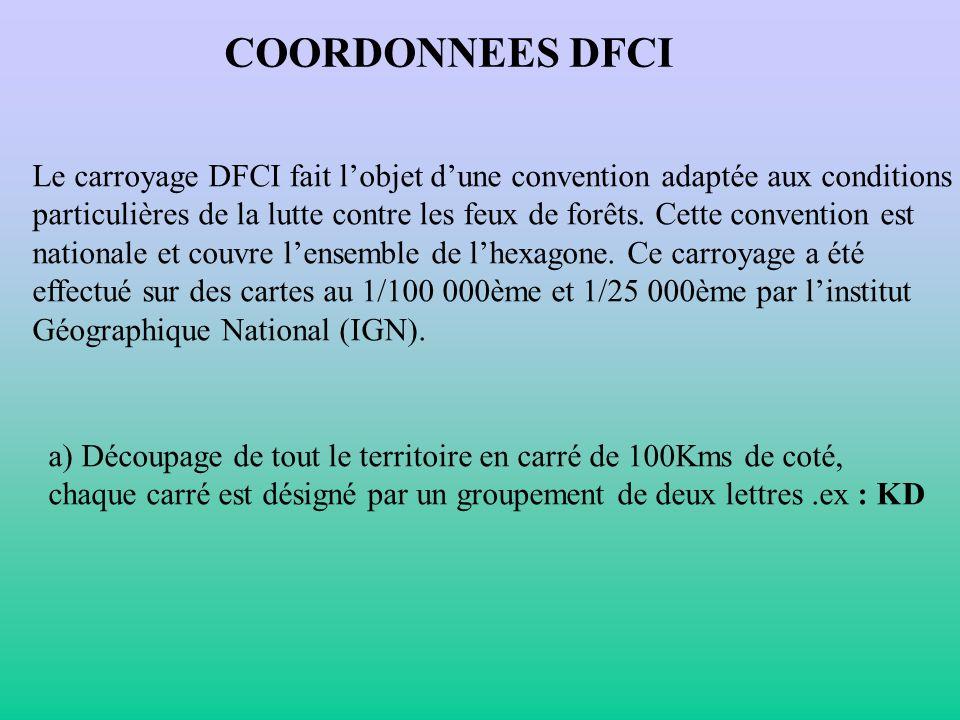 COORDONNEES DFCI Le carroyage DFCI fait l'objet d'une convention adaptée aux conditions.