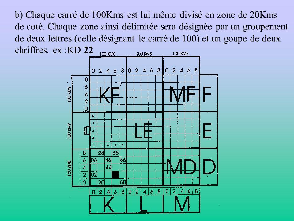 b) Chaque carré de 100Kms est lui même divisé en zone de 20Kms