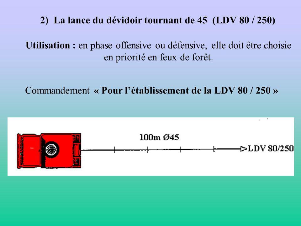 2) La lance du dévidoir tournant de 45 (LDV 80 / 250)