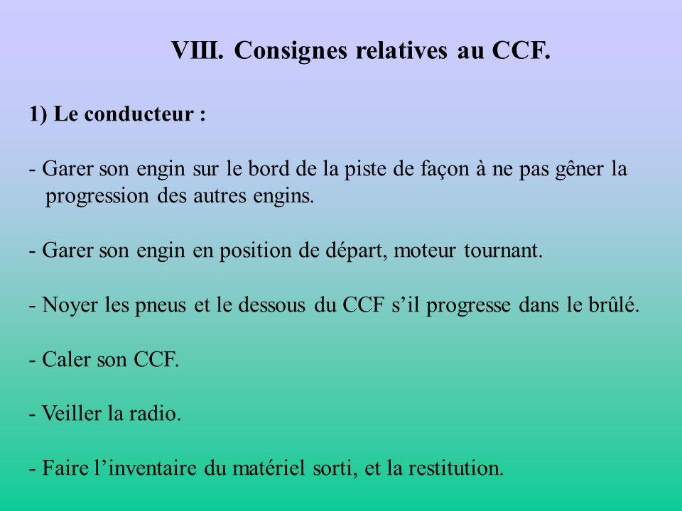 VIII. Consignes relatives au CCF.
